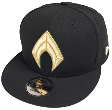5304fa6b599 New Era Aquaman Justice League Black Snapback Cap 9fifty OSFA DC ...