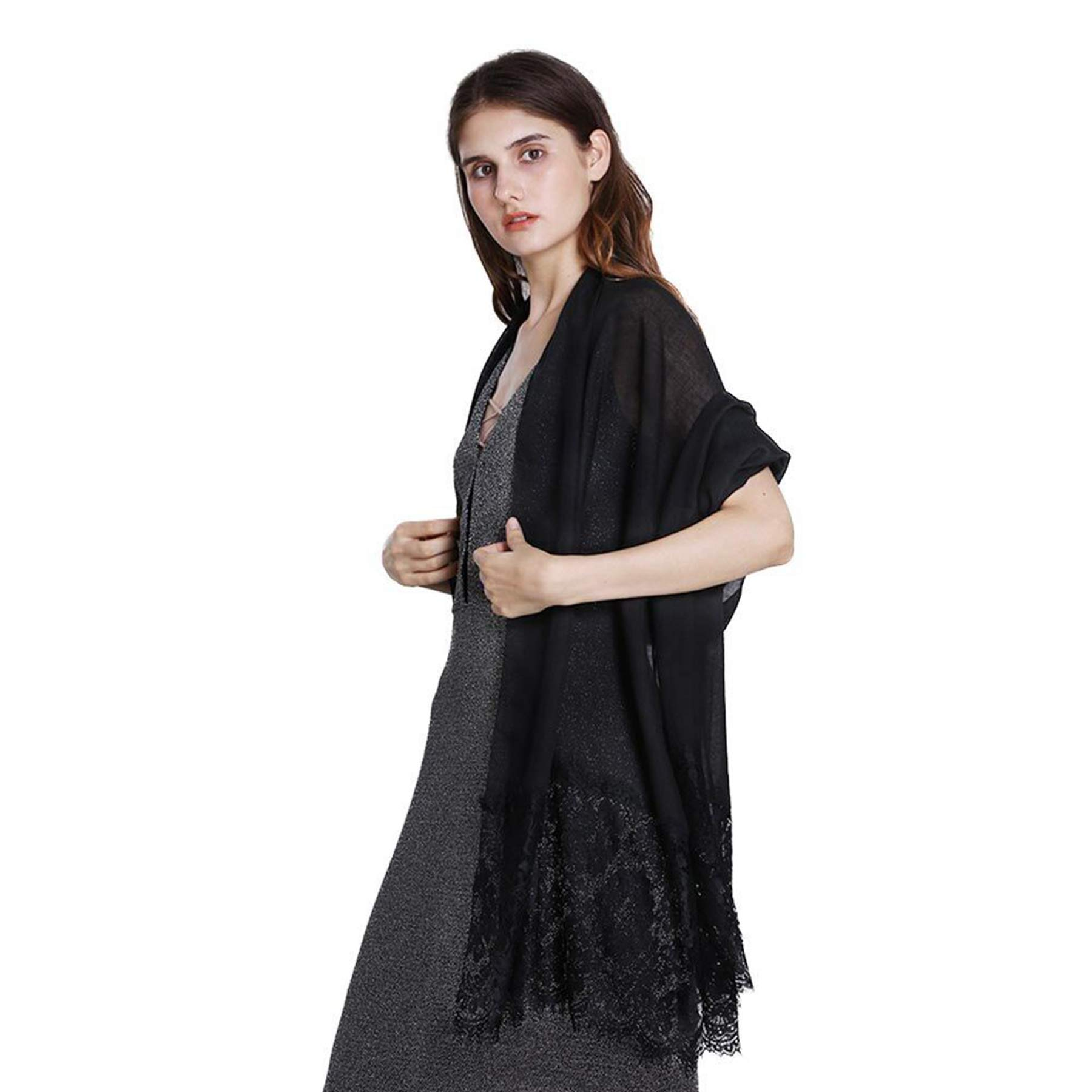 Women Fashion Scarf Wrap Shawl,RiscaWin Autumn Soft Lightweight Lace Scarves Wrap Warm Scarf(Black) by RiscaWin (Image #5)