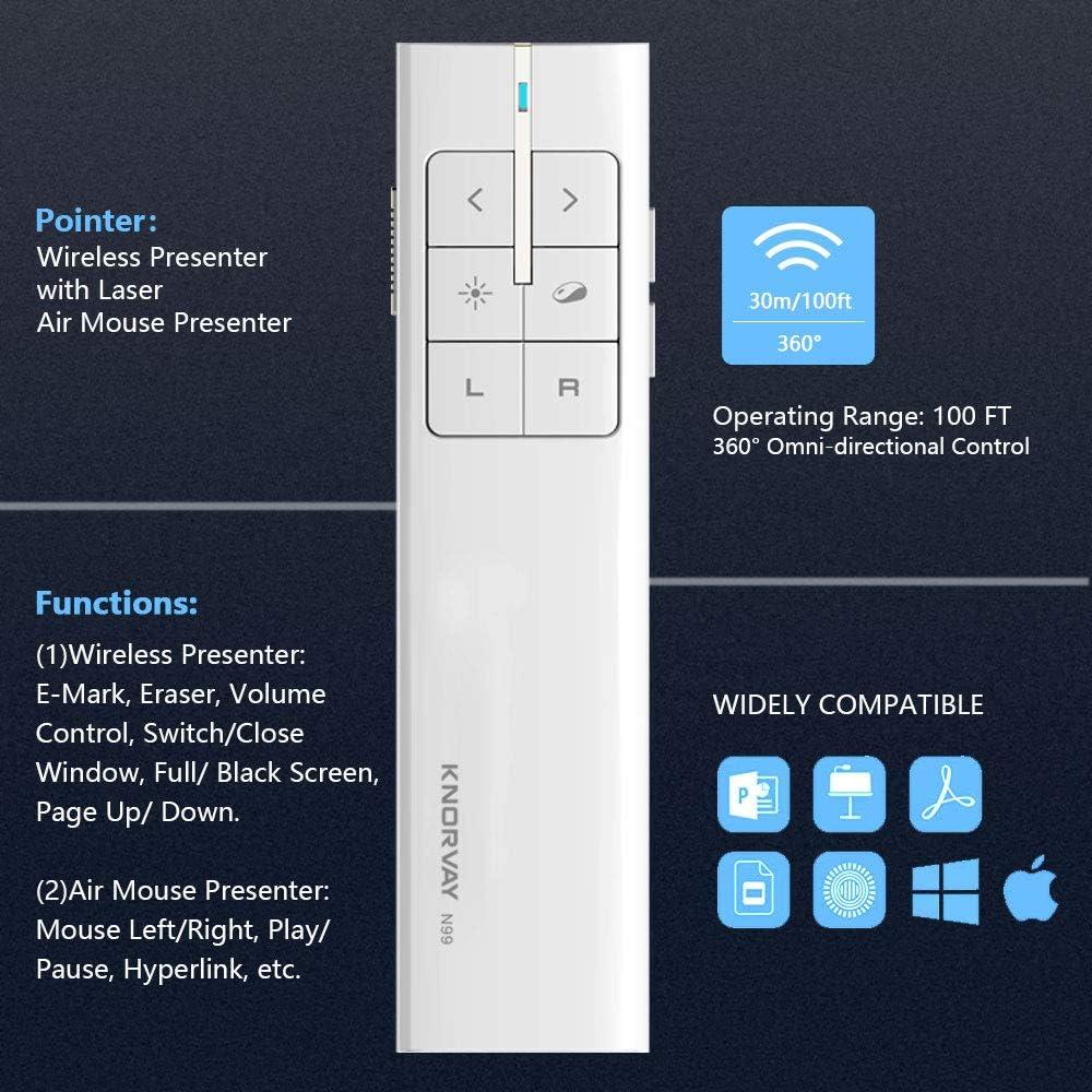 Port/ée de 50M KNORVAY N99L Spotlight T/él/écommande de Pr/ésentation sans Fil Mac//Windows Pointeur Laser Num/érique et Physique Commandes de Diaporama 2.4 GHz Rechargeable