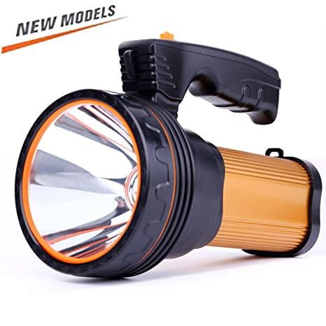 a9e51fdf04d Amazon.com  ROMER LED Rechargeable Handheld Searchlight High-power Super  Bright 9000 MA 6000 LUMENS CREE Tactical Spotlight Torch Lantern Flashlight  (Gold)  ...