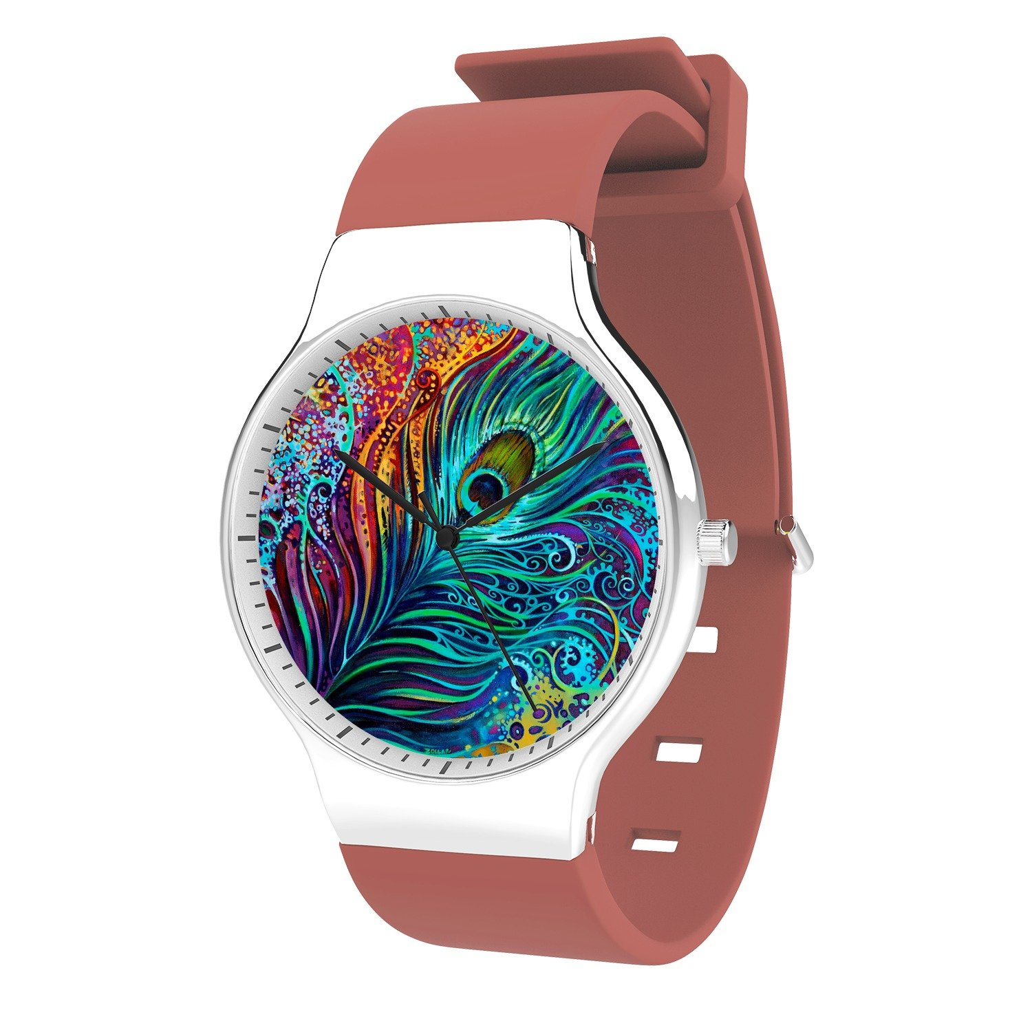 FELOOWSE Peacock Feather Watch Men's Quartz Watches, Minimalist Slim Japanese Quartz Youth Silicone Watches, Fashion PracticalWaterproof Boys Watch Customized Watches