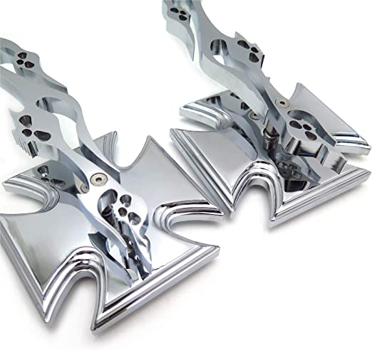 Croix de Malte Embl/ème de moto Chrom/é cours Miroir acrylique pour tous les Yamaha Cruiser v/élos Royal Star Stratoliner Roadliner Road Star V-Star Warrior V-Max Virago par HTT