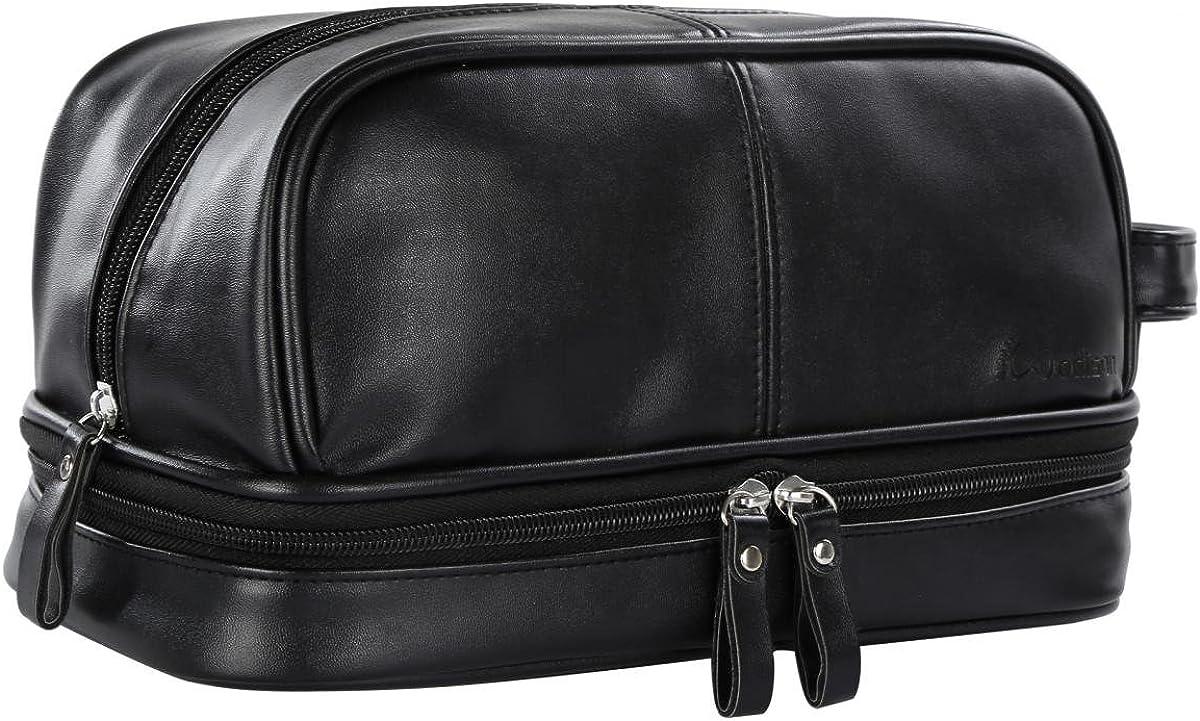 Men/'s Canvas Leather Travel Toiletry Bag Vintage Shaving Dopp kit Case Organizer