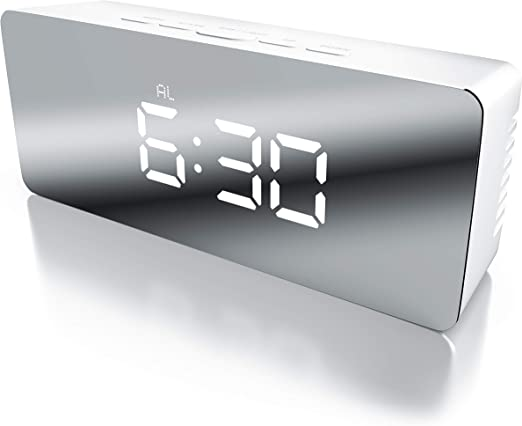 Bearware - Despertador Digital de Espejo LED - Despertador de ...