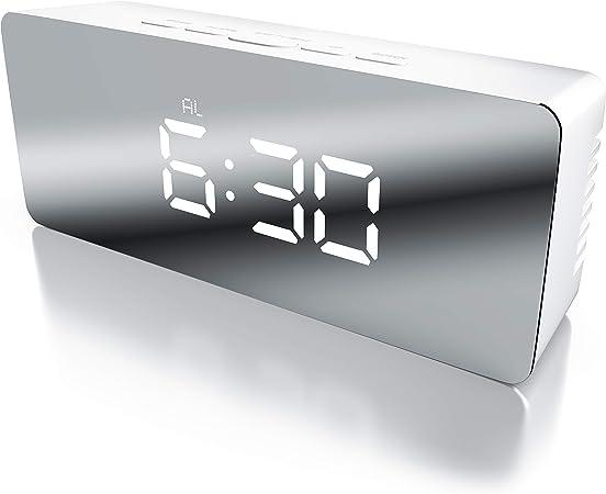 Alarme Miroir R/éveil de Voyage avec Affichage de la Temp/érature Fonction Snooze Bearware Affichage de la Temp/érature int/érieure R/éveil num/érique /à LED Miroir