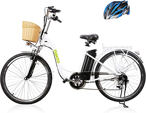 NAKTO 26 250W Cargo Electric Bicycle Sporting Shimano 6 Speed Gear EBike Brushless Gear Motor with Removable Waterproof Large Capacity 36V10A Lithium Battery and Battery Charger -Class AAA