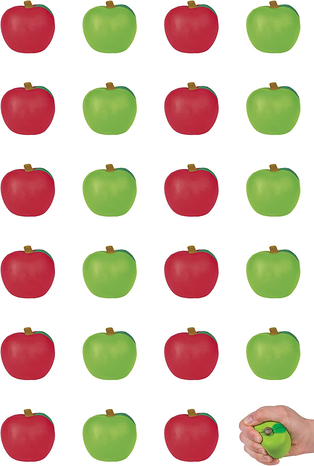Apple Stress Toys, Red and Green Apple-Shaped Stress Relief Balls (24 Assorted Pieces)