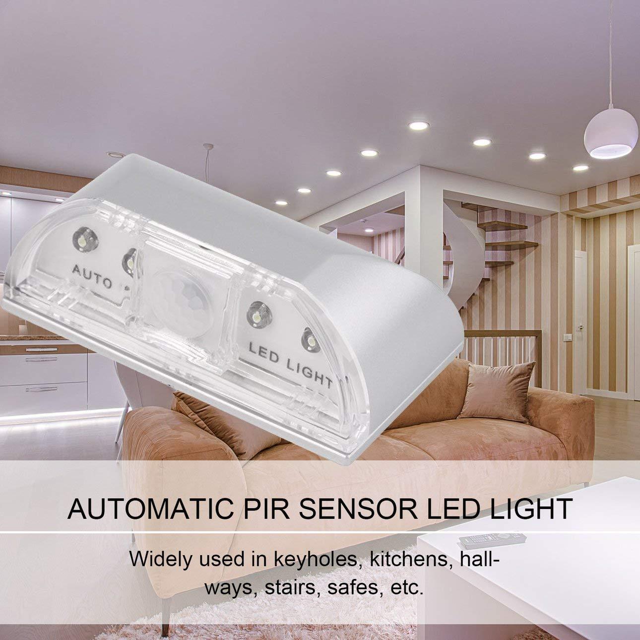 bater/ía AA 4 LED L/ámpara de Movimiento de Sensor LED Luz Nocturna Celerhuak Detector de Sensor de Movimiento de Ojo de Cerradura de Puerta PIR autom/ático L/ámpara de luz LED Plateada para 1