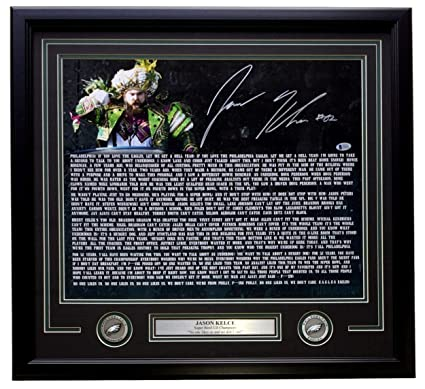 2a08ad01b11 Jason Kelce Signed Framed 16x20 Eagles Super Bowl 52 Speech Transcript  Photo Beckett