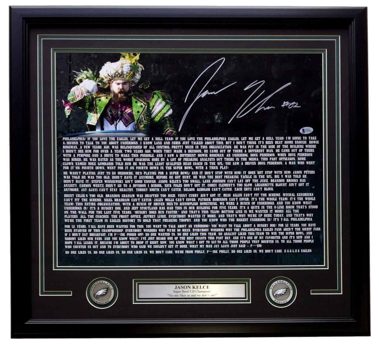Jason Kelce Signed Framed 16x20 Eagles Super Bowl 52 Speech Transcript Photo Beckett