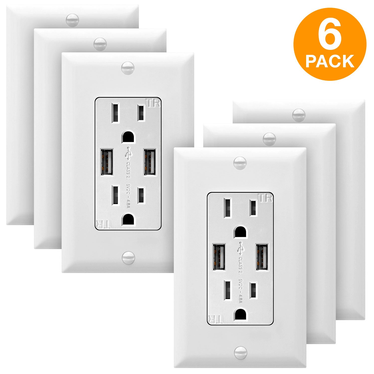 TOPGREENER 4.8A High Speed USB Wall Outlet, 15A Tamper-Resistant Receptacles, Compatible with iPhone XS/MAX/XR/X/8/7, Samsung Galaxy S9/S8/S7, LG, HTC & other Smartphones, UL Listed, TU21548A, 6Pack by TOPGREENER