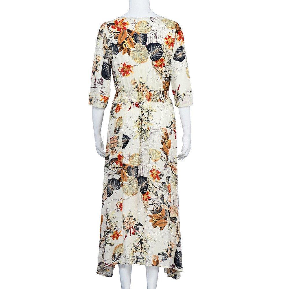 Robe Longue Fleuri Col V avec Boutons Imprim/é Florale Fendue Plage Chic Casual Manches Courtes Vacances Boho Ete Vintage