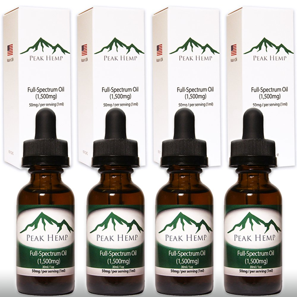 Peak Hemp - Full Spectrum Oil Hemp Extract 6,000mg - (4 Pack) Four 1,500mg 1 oz Bottles by Peak Hemp (Image #1)