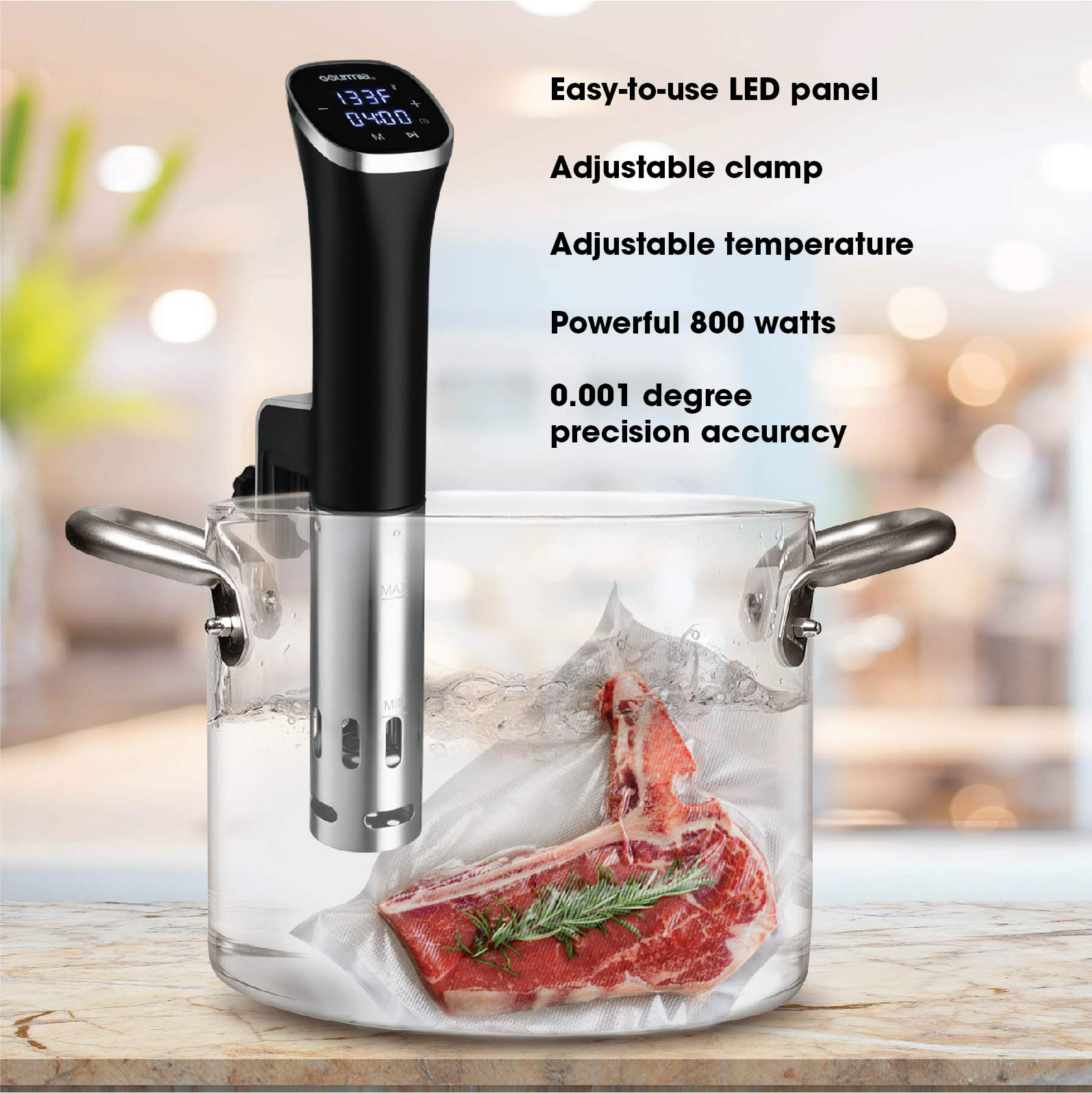 Gourmia GSV115 - Immersion Compact Sous Vide Pod with LED Display - Digital Timer - Accurate Cooking - 800 Watts - Recipe Book Included by Gourmia (Image #2)