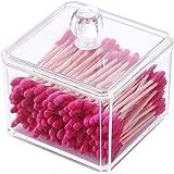 PuTwo Makeup Organizer Bathroom Storage Cotton Buds Dispenzer Cotton Swabs Holder with Lid - Square