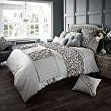 Verina Duvet Cover with Pillowcase Quilt Cover Bed Set Single Double King[Silver,King] by GC
