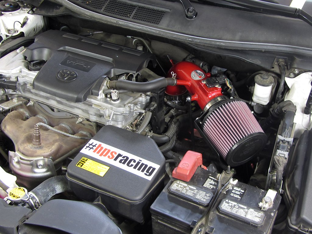 HPS 27-524R Red Short Ram Air Intake Kit with Heat Shield (Non-CARB Compliant)