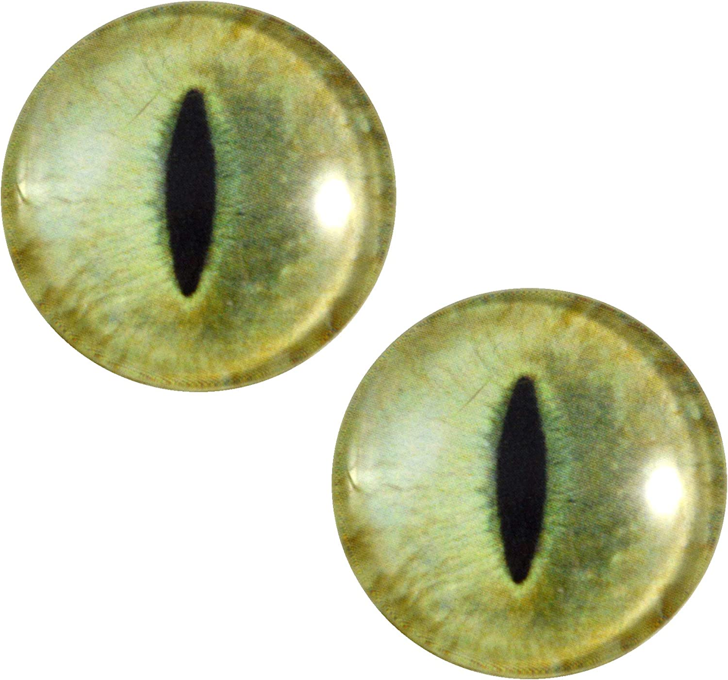 Pale Yellow Cat Glass Eyes On Wire Pin Posts for Needle Felting Doll Sculpture Making Taxidermy and Other Crafts 6mm