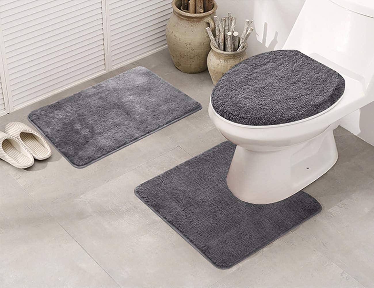 3PCS Bath Set Non-slip Rug Soft Pedestal Mat Toilet Lid Cover Carpet Bathroom US