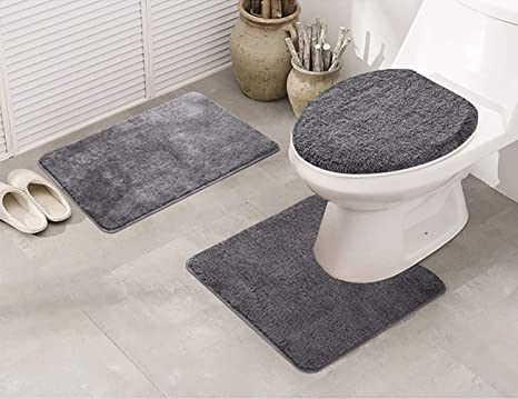 Amazon Com Elegant Homes 3 Piece Bathroom Rug Set Bath Rug Contour Mat Lid Cover Non Slip With Rubber Backing Solid Color Angela Charcoal Home Kitchen