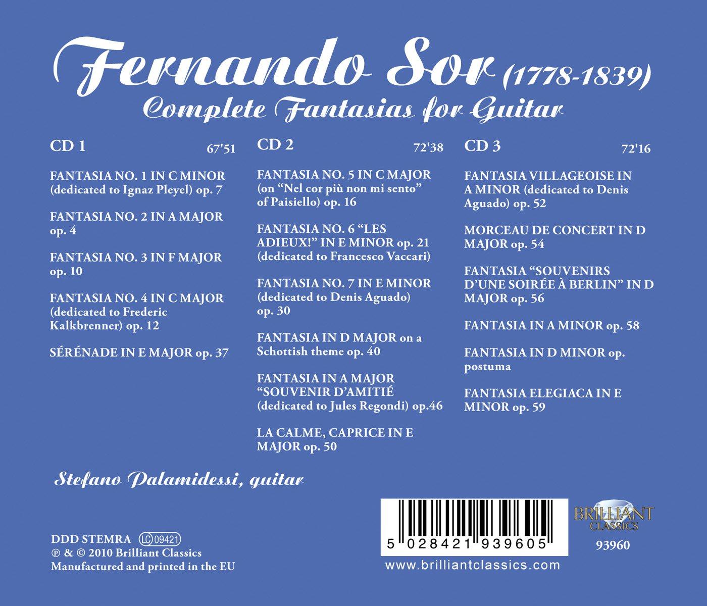 Stefano Palamidessi, Fernando Sor  Sor:plete Fantasias For Guitar   Amazon Music