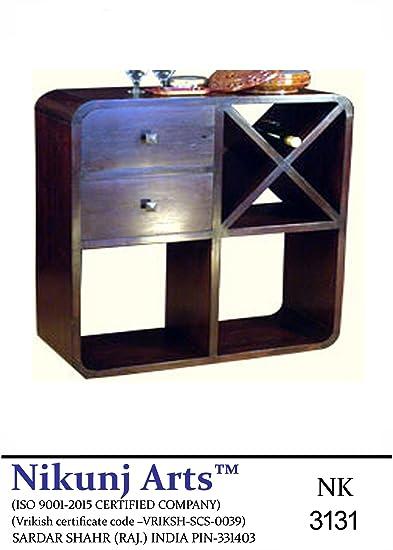 Nikunj Sheesham Wooden Modern Wine Rack Bar Cabinet - Brown
