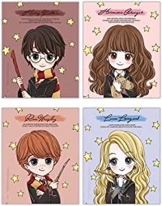 """TRENDYPRINT Harry Potter – Hermione Granger – Ron Weasley - Luna Lovegood – Quotes - Set of Four 8"""" x 10"""" Wall Art – Great for Gifting or Collecting"""