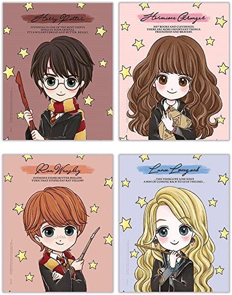 TRENDYPRINT Harry Potter – Hermione Granger – Ron Weasley – Luna Lovegood – Citas – Set de cuatro 20 x 25 cm – Ideal para regalar o coleccionar