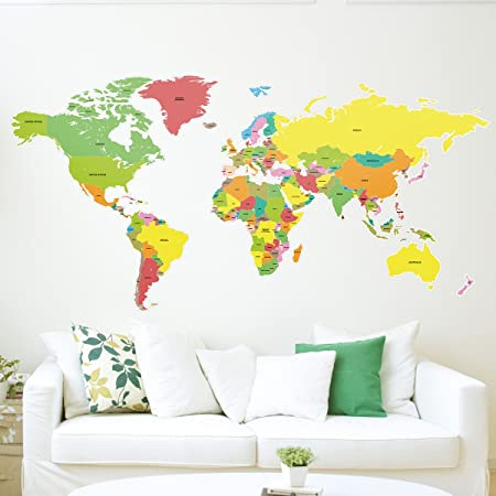 Large labelled world map wall sticker amazon kitchen home large labelled world map wall sticker gumiabroncs Gallery