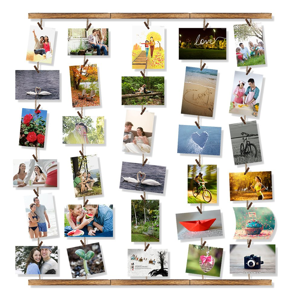 Amazon love kankei wood picture photo frame for wall decor amazon love kankei wood picture photo frame for wall decor 2629 inch with 30 clips ajustable twines collage artworks prints multi pictures amipublicfo Images