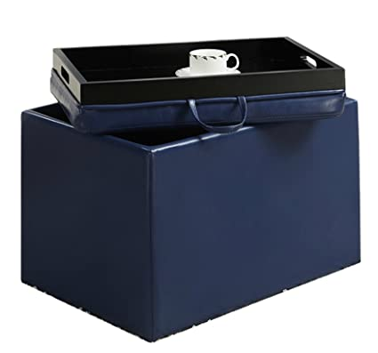 Collections Of Eco Leather Storage Ottoman With Tray