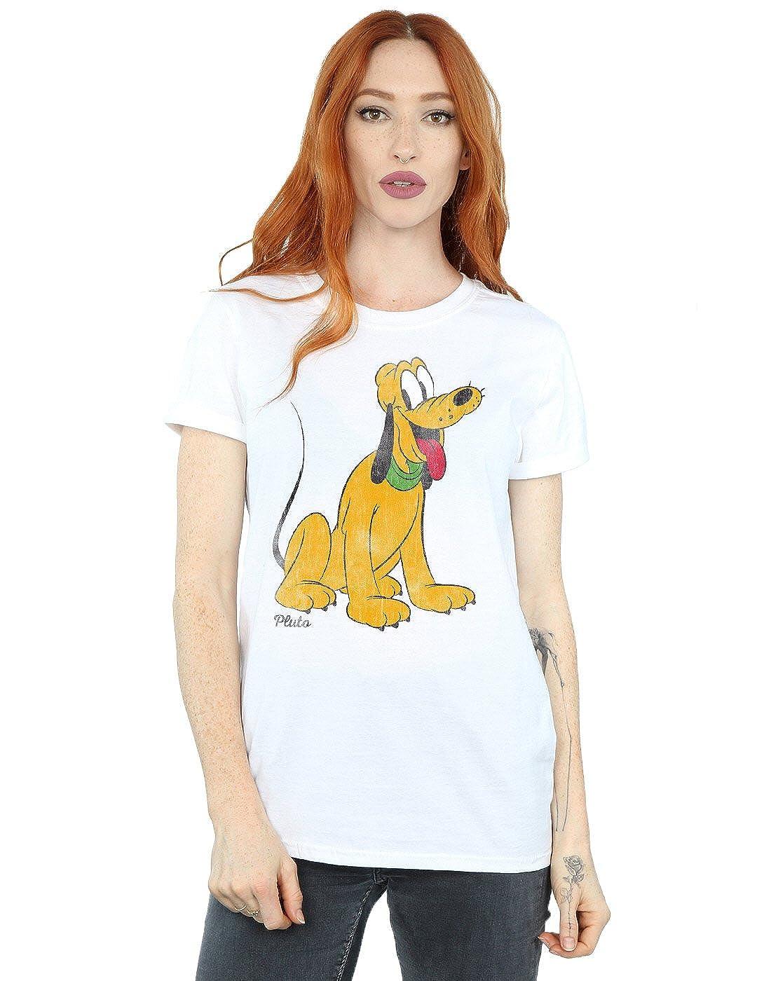 TALLA XL. Disney mujer Mickey Mouse Classic Pluto Camiseta Del Novio Fit