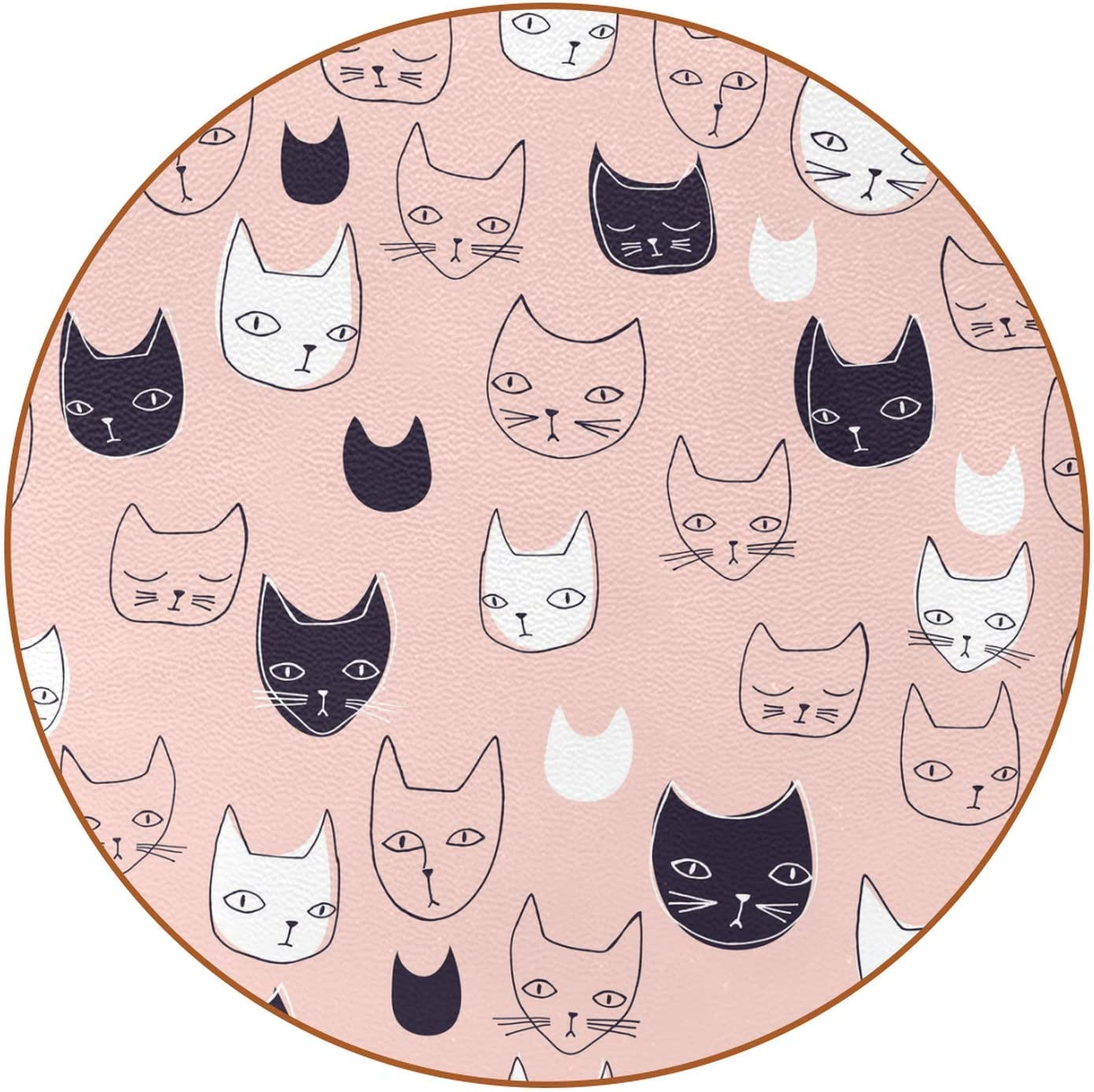 Coasters for Drinks Absorbent Leather Coasters Cartoon Cats Head Housewarming Gifts for New Home Present for Friends, Living Room Decor, Apartment Decor 4.3 Inch
