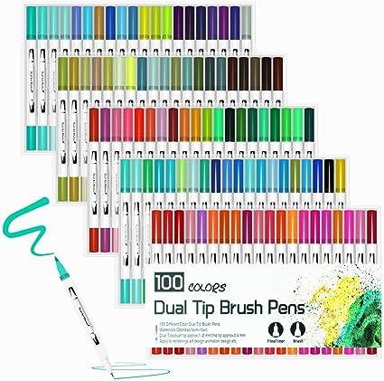 24 Color Marker Pen Dual Tip Art Colouring Brush Pen of Water-based Brush DIY UK