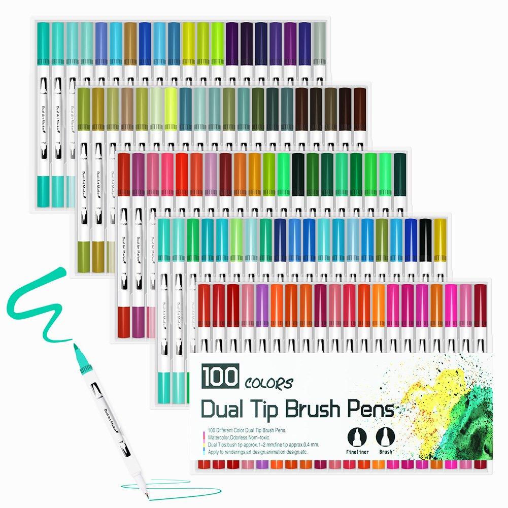 100color cepillo bolígrafos con punta fina punta, doble punta Rotuladores de tinta a base de agua para DIY libro para colorear, dibujo, pintura, dibujo, manga diseño de moda, color blanco 27*16*5cm Laconile