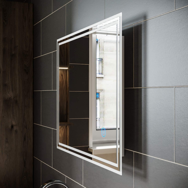 SIRHONA Miroir Salle de Bain LED 100x70cm avec /éclairage Miroir Muraux AVCE Anti-bu/ée Fonction Cosm/étiques Mural Lumi/ère Illumination