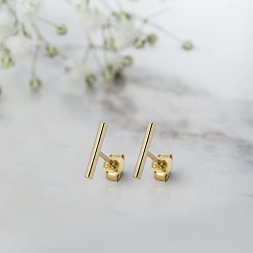 8f49a18d1 Image Unavailable. Image not available for. Color: Wire Bar Earrings, 9K,  14K, 18K Gold ...