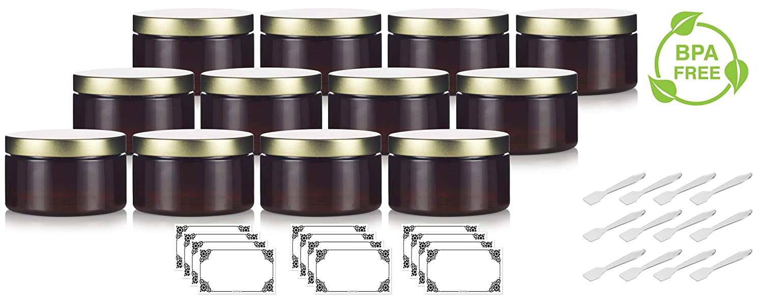 + Spatulas and Labels JUVITUS Amber 4 oz PET Plastic 12 Pack Refillable Low Profile Jar with Gold Metal Lid BPA Free