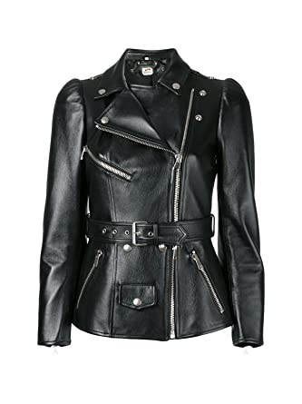 St Slim Fit Ladies Leather Jacket Army Style Womens Racer Faux