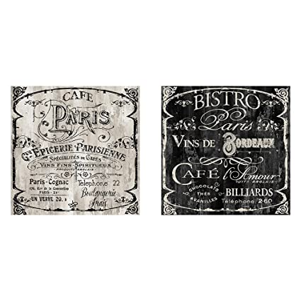 Amazon.com: Two 12x12 Cafe Paris Bistro Wall Art Signs French ...