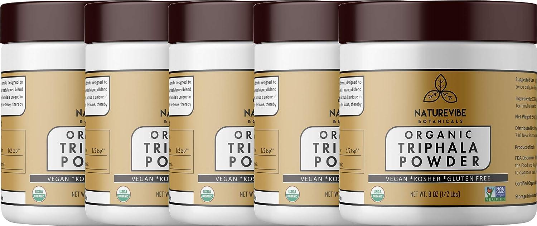 Naturevibe Botanicals USDA Organic Triphala Powder 40oz 5 Pack of 8oz Each – Ayurvedic Formula for Detoxification Rejuvenation – 100 Pure Natural