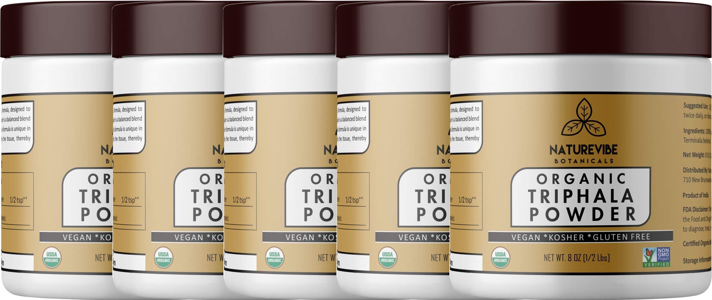 Naturevibe Botanicals USDA Organic Triphala Powder (40oz) (5 Pack of 8oz Each)- Ayurvedic Formula for Detoxification & Rejuvenation - 100% Pure & Natural