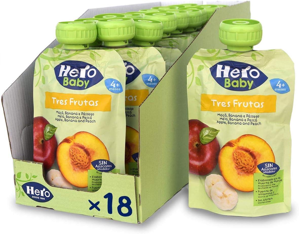 Hero Baby 3 Frutas - Bolsita de Fruta con Manzana, Plátano y Melocotón, Sin Azúcares Añadidos, para Bebés a Partir de los 4 Meses - Pack de 18 x 100 g: Amazon.es: Alimentación y bebidas