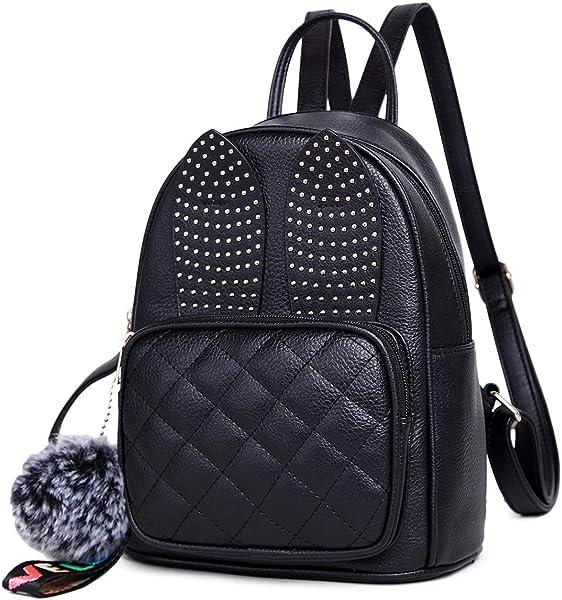 a1015cd3b7a9 Amazon.com  Girls Rabbit Ear Cute Mini Leather Backpack