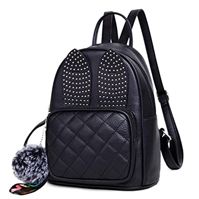 aec9fe81c1 Amazon.com  Girls Rabbit Ear Cute Mini Leather Backpack