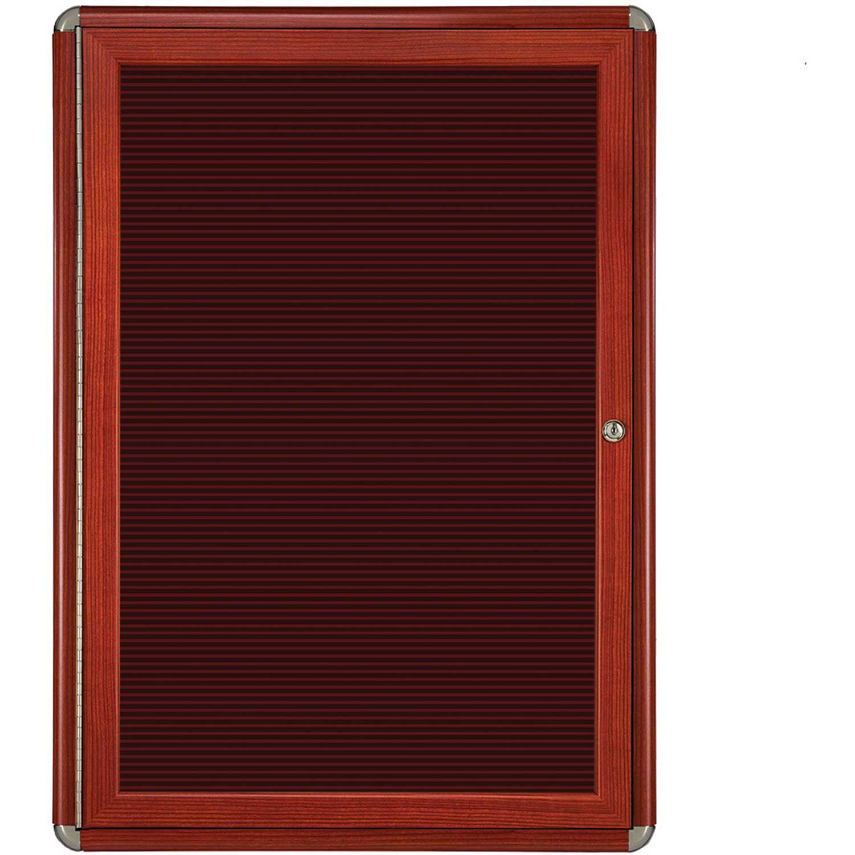 Ghent 1 Door Ovation Letter Board, Burgundy w/Cherry Chrome Frame, 24-1/8''w x 33-3/4''H