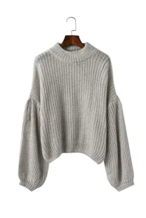 d63ac9574e8 Women s High Neck Bell Sleeve Knit Chunky Cable Sweater Jumper New Look  (Gray)