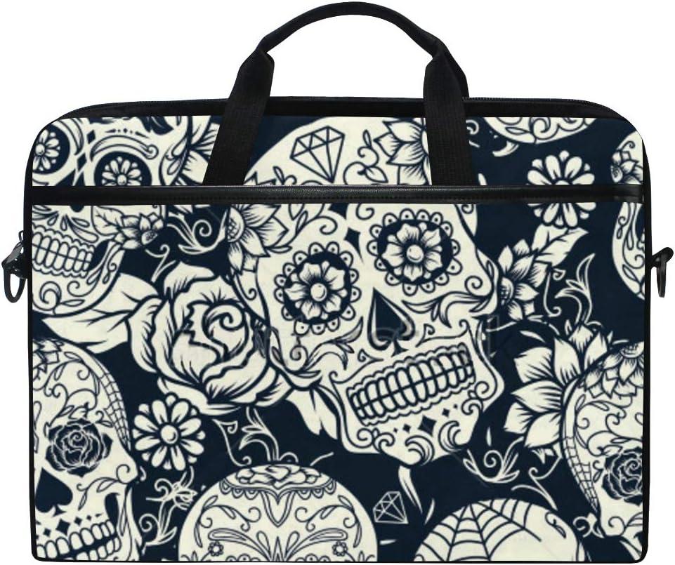 """SLHFPX Laptop Bag Sugar Skull11 14"""" 15"""" Laptop Case Notebook Briefcase Tablet Handbag Sleeve Computer Backpack with Shoulder Strap Handle for Men Women Travel Business School"""