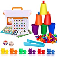HOOME Rainbow Counting Bears with Matching Sorting Cups,Number Color Recognition STEM Educational Toy for Toddler, Pre…