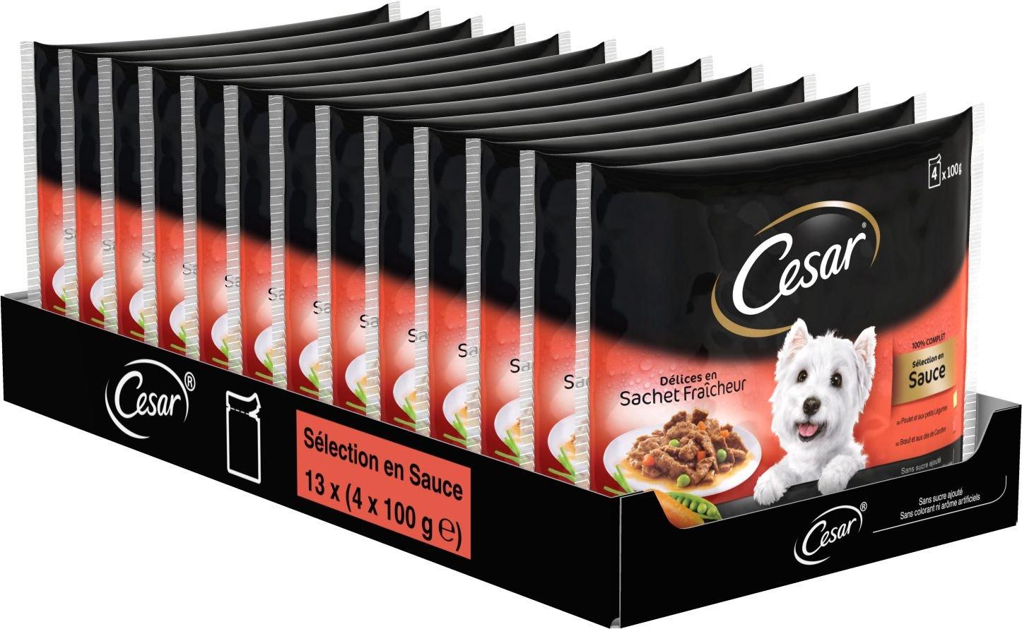 Cesar Délices Set de 13 x 4 Sachets Fraîcheurs Sélection en Sauce pour Chien 100 g - Lot de 13 304911